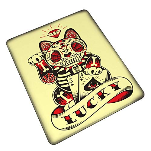 Lucky Cat Spielende Poker-Karten Gaming Mauspad Mauspad Mauspad rutschfeste Gummiunterseite Gaming Rechteck Mauspad für Laptop Computer PC Tastatur