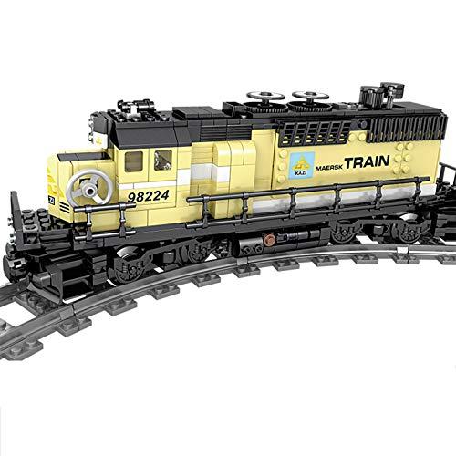 SICI City Güterzug mit Schiene, Technik Zug Eisenbahn Lokomotive Modell mit Motor und Beleuchtungsset,Bausteine...
