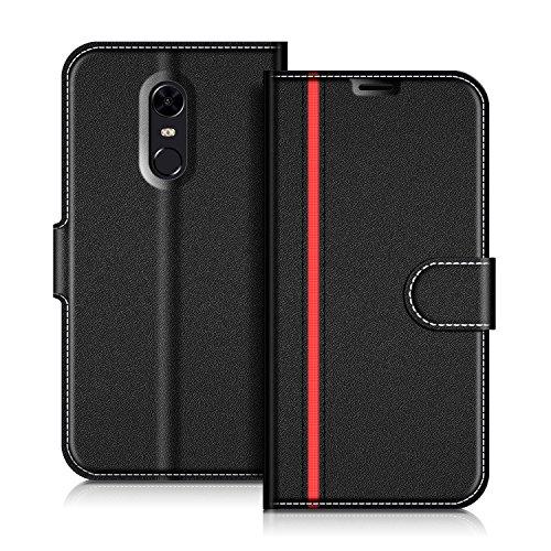 Coodio Xiaomi Redmi 5 Plus Hülle Leder Lederhülle Ledertasche Wallet Handyhülle Tasche Schutzhülle mit Magnetverschluss/Kartenfächer für Xiaomi Redmi 5 Plus, Schwarz/Rot