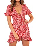 Relipop Women's Dresses Floral Print Deep V-Neck Short Bell Sleeve Ruffle Wrap Tie Knot Fishtail Short Dress Red