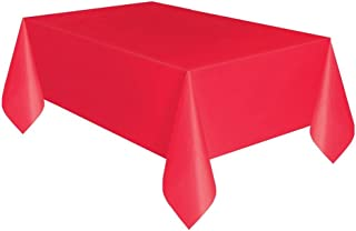 """Red Plastic Tablecloth, 108"""" x 54"""""""