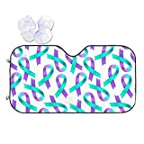 Purple Blue Ribbon Suicide Prevention Awareness Pattern Front Windshield Sun Shade Auto Sunshade for Car Truck SUV Blocks UV Rays Sun Visor Protector Sunscreen Cover with Elastic Strap for Outdoor,S
