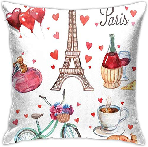 París Ilustración de Corazones Torre Eiffel Vino Tinto Perfume de café Funda de cojín con temática romántica Funda de Almohada Moderna de 18 'x 18'