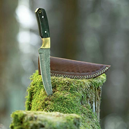 elToro Brass Horn - Damast - Jagdmesser - 14cm - inkl. Lederscheide
