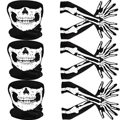 Guanti Scheletro Bianco e Teschio Faccia Maschera Mezzo Fantasma Ossa Costumi Cosplay per Adulti Halloween Danza Costume Festa (3 Set, Stile A)
