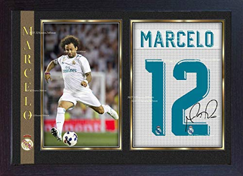 S&E DESING Marcelo Real Madrid Signed Autograph Football Photo Print Framed