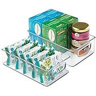 "mDesign Plastic Kitchen Pantry Cabinet, Refrigerator or Freezer Food Storage Bins with Handles - Organizer for Fruit, Yogurt, Snacks, Pasta - Food Safe, BPA Free, 6"" Wide, 2 Pack - Clear"