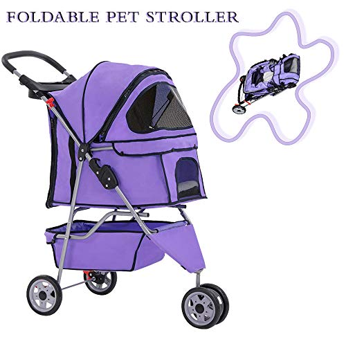 Pet Stroller for Dog/Cat Jogger Stroller Travel Easy Fold with Removable Liner,Cup Holder,Storage Ventilation 3 Wheels 35Lbs Capacity for Small-Medium Dogs, Cats
