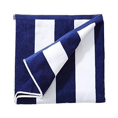 Great Bay Home 100% Cotton Plush Cabana Stripe Oversize Velour Beach Towel (40x70). By Brand. (Navy)