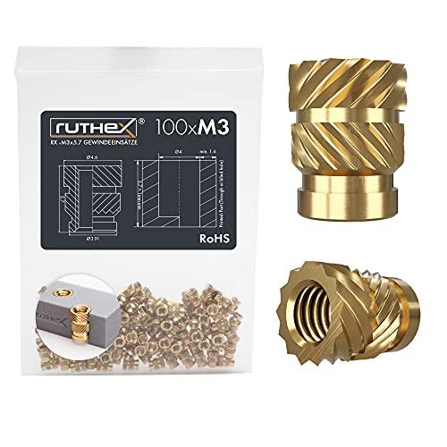 ruthex Inserto roscado M3-100 casquillos roscados de latón RX-M3x5,7 – tuerca de inserción para piezas de plástico – tuerca moleteada para embutir en piezas de impresora 3D por calor o ultrasonido