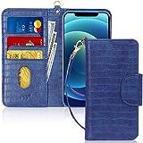 FYY Funda iPhone 12 Mini, funda iPhone 12 Mini 5G 5.4 pulgadas, [función de soporte] Flip Funda cartera Libro de piel PU Premium con ranura para tarjetas para iPhone 12 Mini 5.4 pulgadas 2020-Cro azul