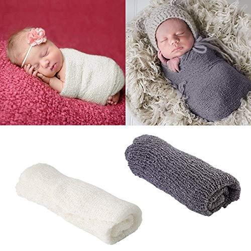 Outgeek Newborn Fotografia 3PCS Reci/én Nacido Photo Prop Cute Multiuso Swaddle Wrap Fotograf/ía Mat y Diadema