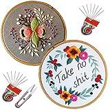 Kit bordado Embroidery Starter Kit bordado magico Stitch Set Including Embroidery Hoop,Threads,Cloth,Tools Kit,Instruction (2PCS)