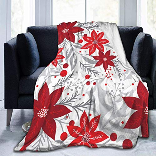 Christmas Flowers Poinsettia Marry Soft Throw Blanket 40x50 inch Lightweight Warm Flannel Fleece Blanket for Couch Bed Sofa Travel Camping for Kids Adults