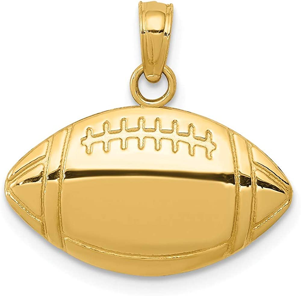 Solid 14k Yellow Gold Football Charm Pendant (13mm Height x 18mm Width)