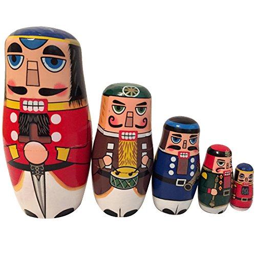 Beetest 5 PIÈCES en Bois Russe Nesting Dolls Noyer Soldat Style Imbrication poupée Ensemble Maison décoration de Bureau