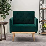 Modern Velvet Single Sofa Chair, Upholstered Accent Living Room Chair, Comfy Armchair with Rose Golden Metal Legs, Tufted Chair for Reading or Lounging (Green)