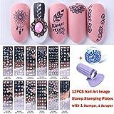 Lookathot 12PCS Nail Art Image Estampado de placas con...