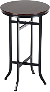 Bar Bistro Cocktail Pedestal Tables for Kitchen, Dining Room - Bistro, Coffee, Living Room Table – Wood and Metal Tables, Black