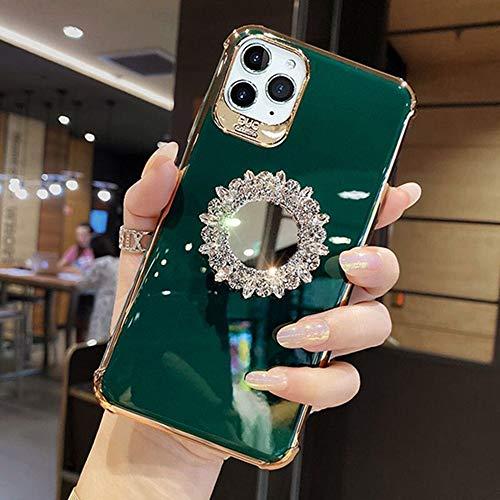 AAA&LIU Electroplate 3D Glitter Bling Rhinestone Mirror Bracket Funda Suave para teléfono para iPhone X XR XS 11 12 Pro MAX 7 8 Plus Funda, 6, para iPhone XS MAX