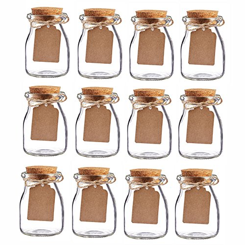 Awtlife 12PCS vintage favor barattoli di vetro con tappo in sughero per bomboniera 96,4gram ogni barattolo