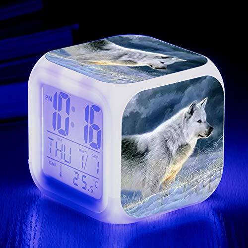 HUA-Alarm clock Niedliche Tier Wolf Bunte Quad Wecker Kreative Kleine Wecker Student Kinder Wecker Geschenke 8X8X8cm/ Nummer 2