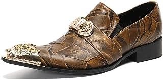 YOWAX Zapatos de los Hombres Zapatos de Cuero de la Cabeza de Metal para Formal, Informal, Fiesta, Negocios Personalizada ...