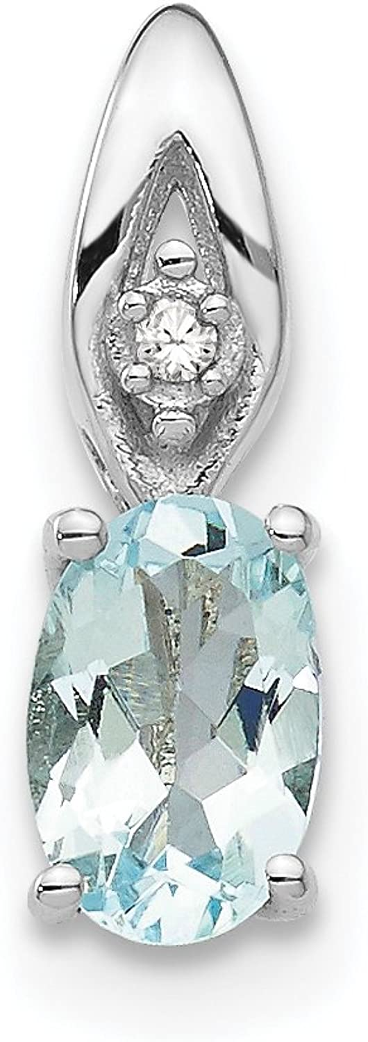 Diamond2Deal 14k White gold Aquamarine Diamond Pendant
