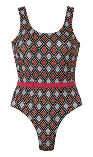 Beco Damen Badeanzug Summer of Love, Grün/Pink, 36
