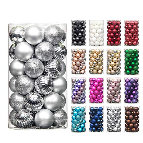 QinYing 4cm/1.57' Silver 41pcs Christmas Tree Hanging Balls Christmas Balls Ornaments for Holiday Party Baubles Decoration Set with Hang Rope