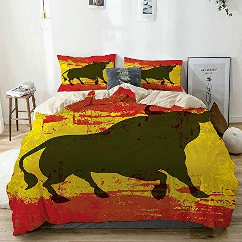 Dodunstyle Bettwäscheset Beige, Spanish Bull Silhouette auf Fahnendruck, Dekoratives 3-teiliges Bettwäscheset in doppelter Größe mit 2 Kissenbezügen Pflegeleicht, antiallergisch, weich, glatt
