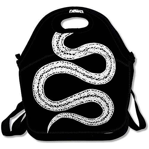 Lunch-Taschen Isolierte Adult Wild Bite Vintage Schlange Anaconda Black Reptile Boa Cobra Gruselige Gefahr Design Drawne Wiederverwendbare Lunch-Tote-Box Für Office