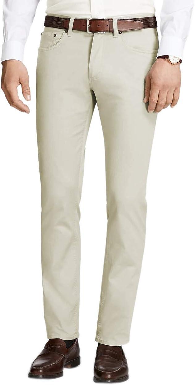 Brooks Brothers Mens Regular Fit 5 Pocket Twill Cotton Casual Pants Khaki Beige