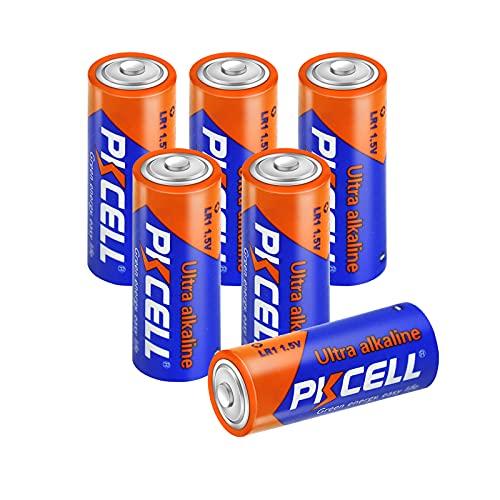 PKCELL Alkaline-Batterien, 1,5 V, N-Größe LR1, AM5, MN9100, Trockenzelle für Sperker, Bluetooth, Player, 6 Stück