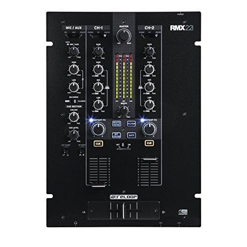Reloop RMX-22i - Mixer digitale a 2 (+1) canali, 4 effetti sonori istantanei di colore per canale, iPad tablet smartphone audio split-input audio, nero