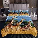 Giraffe Tagesdecke 170x210cm Wild Eltern Kind Giraffe Steppdecke für Jungen Mädchen Safari Tiere Drucken Bettüberwurf Zoo Tier Natur Dekor Wohndecke 2St