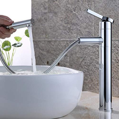 Grifo monomando de lavabo de grifo de baño de alta extensión elegante con ducha de mano extraíble Grifo mezclador de una sola palanca Grifo de baño 360 & deg;Caño giratorio para baño de latón (cromad