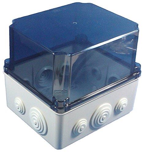 Kunststoff Klemmenkasten mit elastischen Kabeltüllen und Hutschiene (241x180x175 mm, transparent)