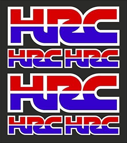 6stk HRC Racing Corporation Aufkleber passt zu Honda Motorrad / Plus Schlüsselringanhänger aus Kokosnuss-Schale / Sticker Decal Logo Motorrad Bike VFR CBR Fireblade Tuning