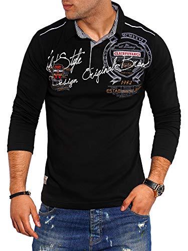 behype. Herren Langarm Polo-Shirt Longsleeve Polo-Hemd 20-6028 Schwarz 3XL