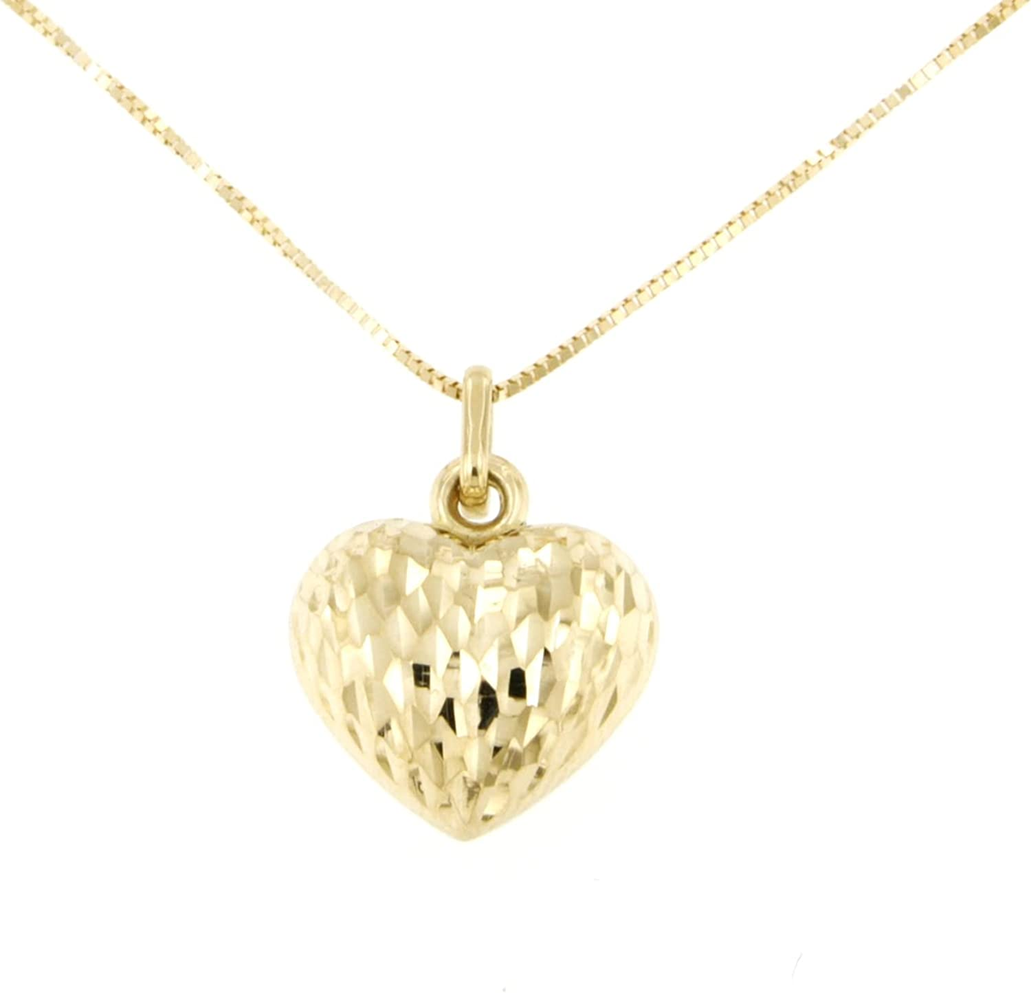 Lucchetta - Premium 14 karat Yellow Gold Necklace with Heart Pendant Textured, 16+2 inch, 14k Italian Solid Gold Necklaces for Women Teen Girls, Made in Italy Fine Jewelry, XD2910-VE38
