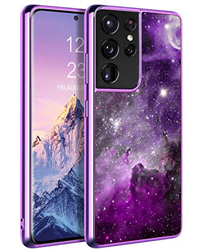 KANGYA Samsung Galaxy S21 Ultra 5G Phone Case, Glow in The Dark Slim Fit Shockproof Protective Hybrid Hard PC Soft TPU Bumper Galaxy S21 Ultra 5G Phone Cover for Girls Men Women, Purple Nebula