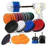 Aufisi -23 Piezas de perforación Kits Accesorio de Cepillo con 6 '' Varilla de extensión para el Atornillador a batería para el baño, Piso, Azulejos de la Piscina, Limpieza del Coche