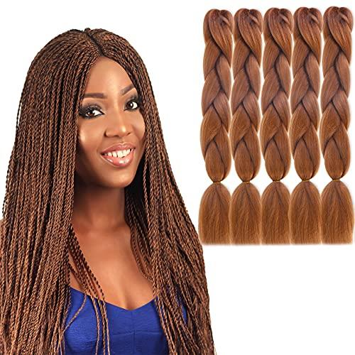 Capelli Intrecciati Pre allungati Extension, 5 Packs 24 Pollici Capelli per Treccine Africane Hair Braid Extension Capelli Sintetici Uncinetto Treccia Estensione Jumbo, con ago per Uncinetto