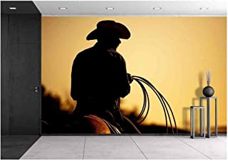 wall26 - Cowboy with Lasso Silhouette at Small-Town Rodeo. Note: Added Grain. - Removable Wall Mural | Self-Adhesive Large Wallpaper - 66x96 inches