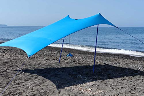 SHADYSAND - Large Family Beach Tent Anti-UV (UPF 50+) Up to 5 Persons, Compact and Lightweight and Practical Beach Shelter, Sun Shelter for Baby, Children and Adults in a Hand Suitcase.