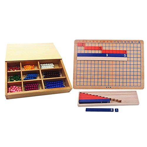 Sharplace Montessori Material Matemático - Tablero de Sumas y Restas + Barra de Granos para Contar