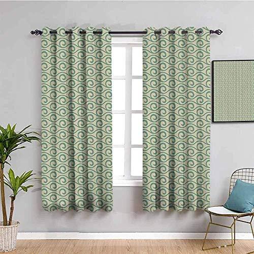 LucaSng Cortinas de Opacas - Verde Abstracto Arte Rayas - 140x160 cm - para Sala Cuarto Comedor Salon Cocina Habitación - 3D Impresión Digital con Ojales Aislamiento Térmico Cortinas