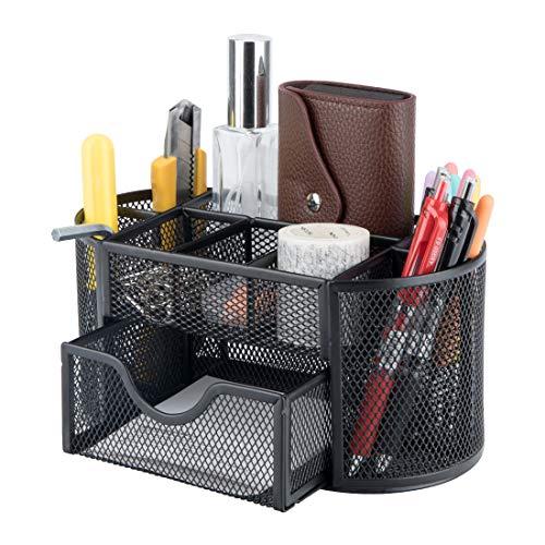 Organizador de escritorio,organizador multifuncional, soporte para bolígrafos,cubo para bolígrafos,diseño de malla metálica negra,adecuado para oficinas,escuelas y otros espacios de oficina