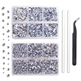 Outuxed 5040pcs Clear Hotfix Rhinestones 6 Mixed Size Crystal Flatback Rhinestones for Crafts Round Glass Gems with Tweezers and Picking Rhinestones Pen 2-6.5mm